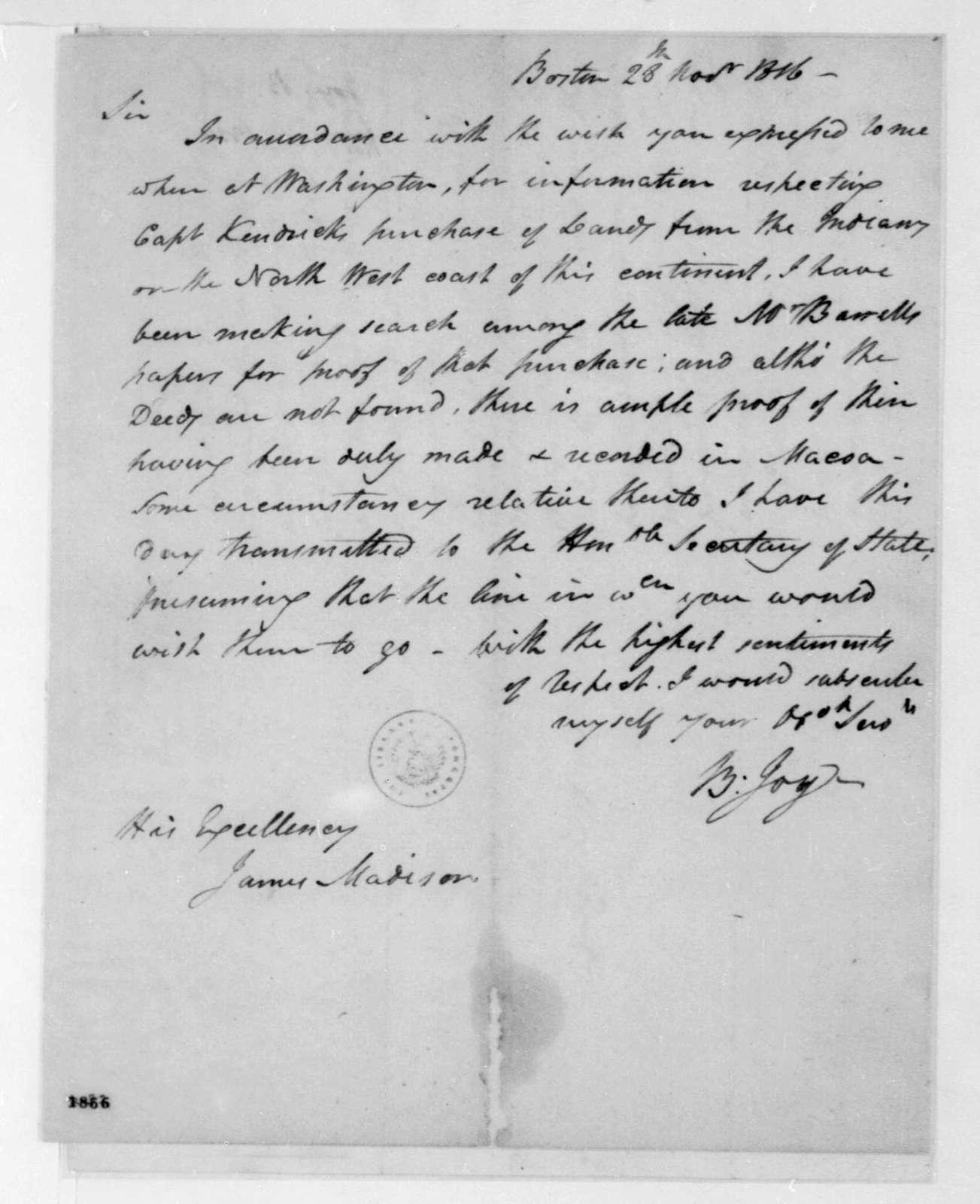Benjamin Joy to James Madison, November 28, 1816.