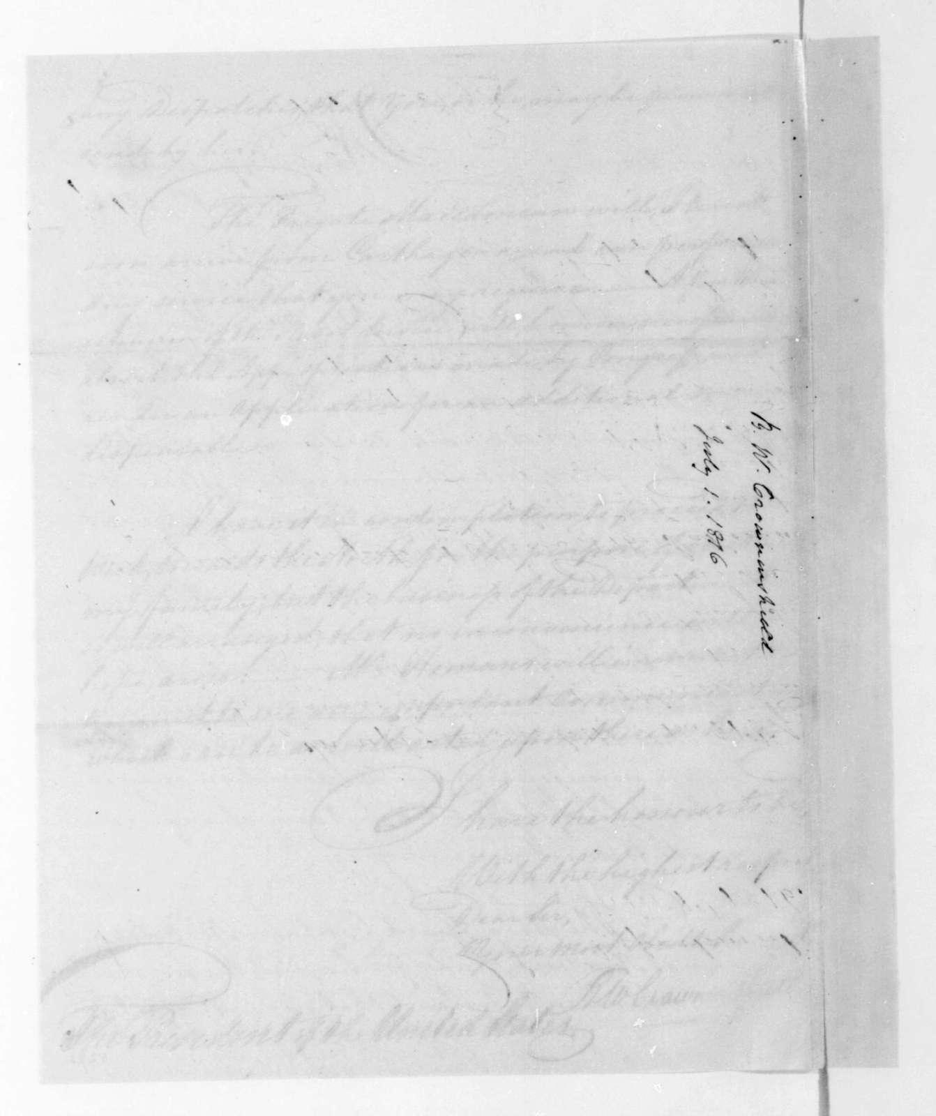 Benjamin W. Crowninshield to James Madison, July 1, 1816.