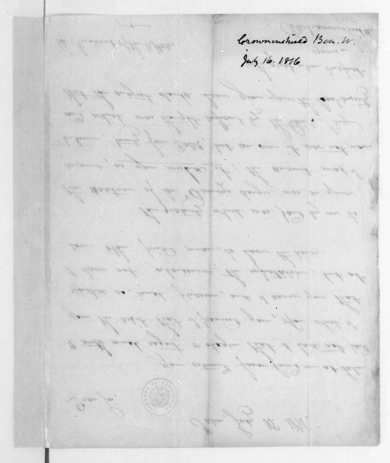 Benjamin W. Crowninshield to James Madison, July 16, 1816.