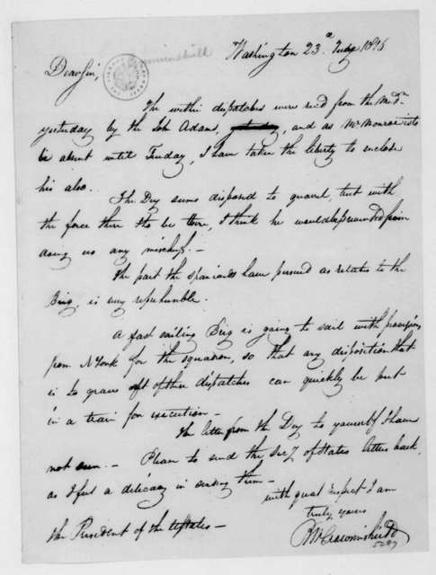 Benjamin W. Crowninshield to James Madison, June 23, 1816. With Note by Benjamin Homans.