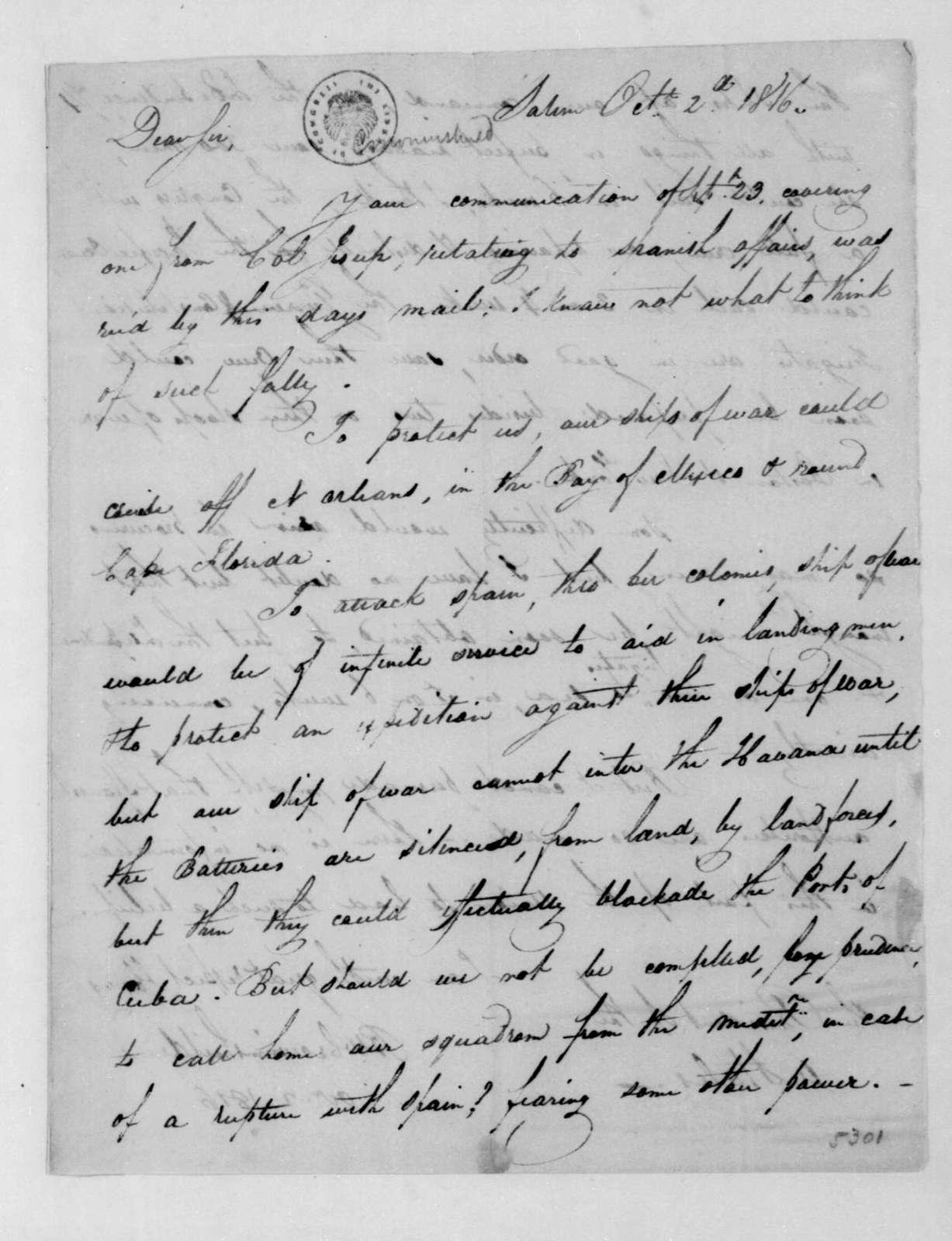 Benjamin W. Crowninshield to James Madison, October 2, 1816.