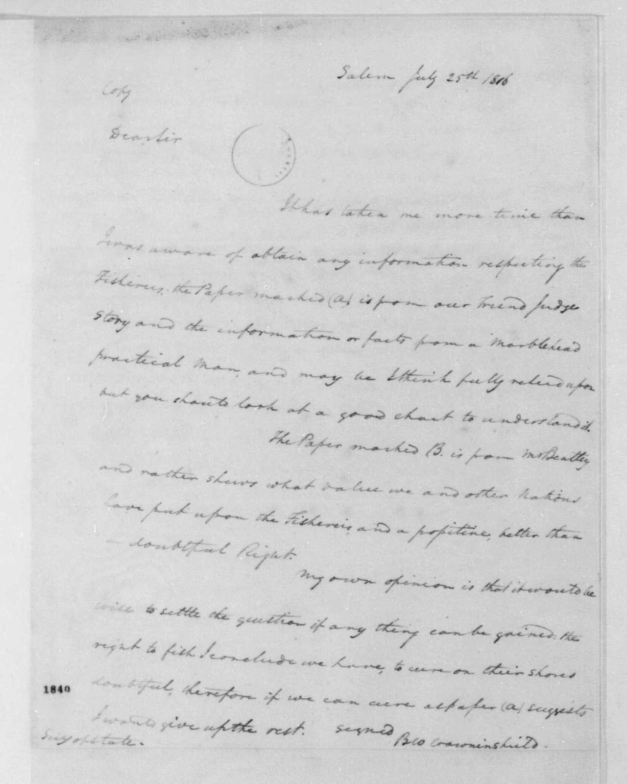 Benjamin W. Crowninshield to James Monroe, July 25, 1816.