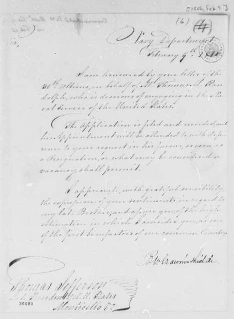 Benjamin W. Crowninshield to Thomas Jefferson, February 9, 1816