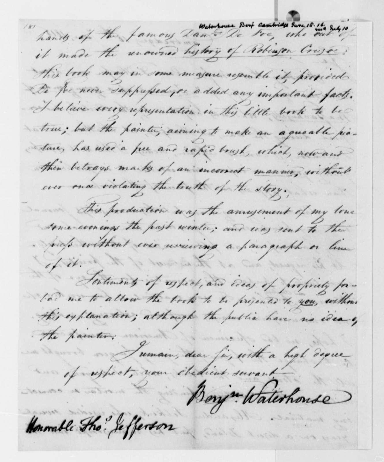 Benjamin Waterhouse to Thomas Jefferson, June 18, 1816