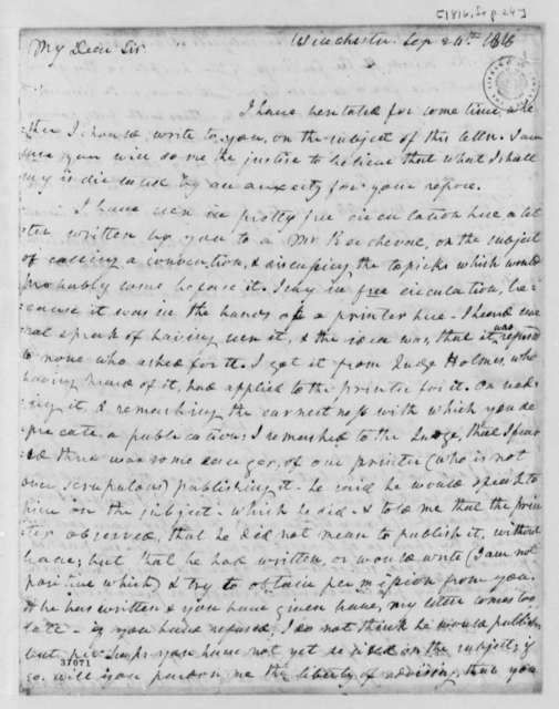 Cabney Carr to Thomas Jefferson, September 24, 1816