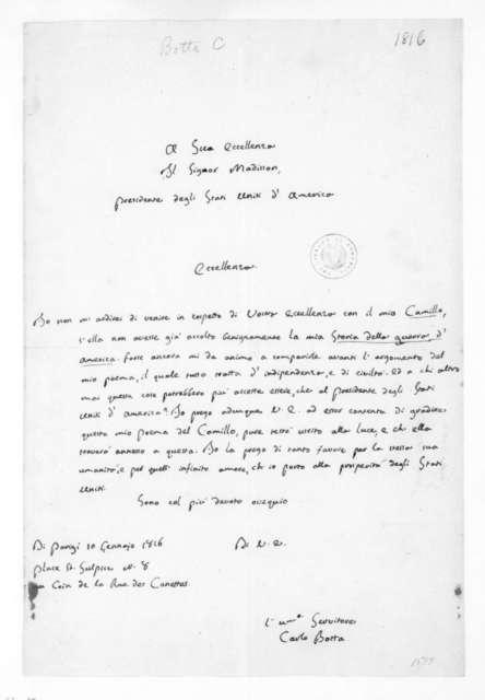 Carlo Botta to James Madison, January 10, 1816. In Italian.