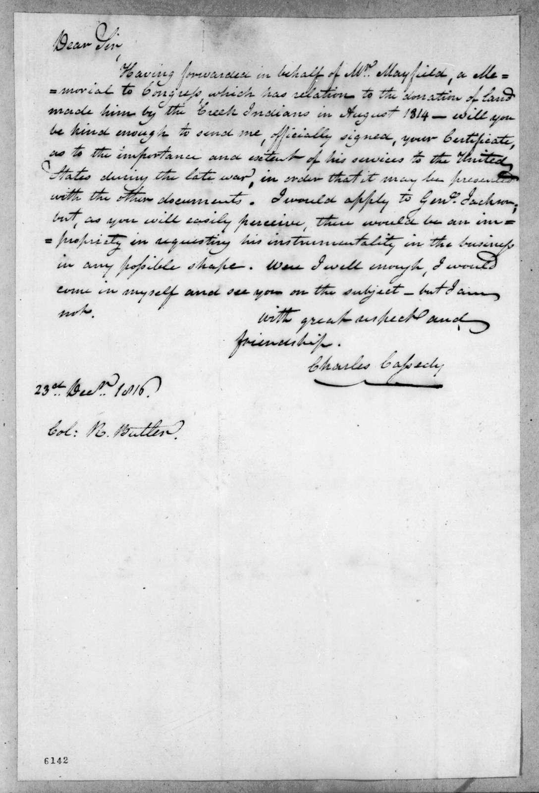 Charles Cassedy to Robert Butler, December 23, 1816