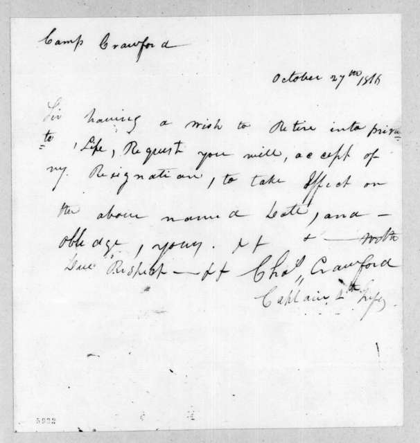 Charles Crawford to Duncan Lamont Clinch, October 27, 1816