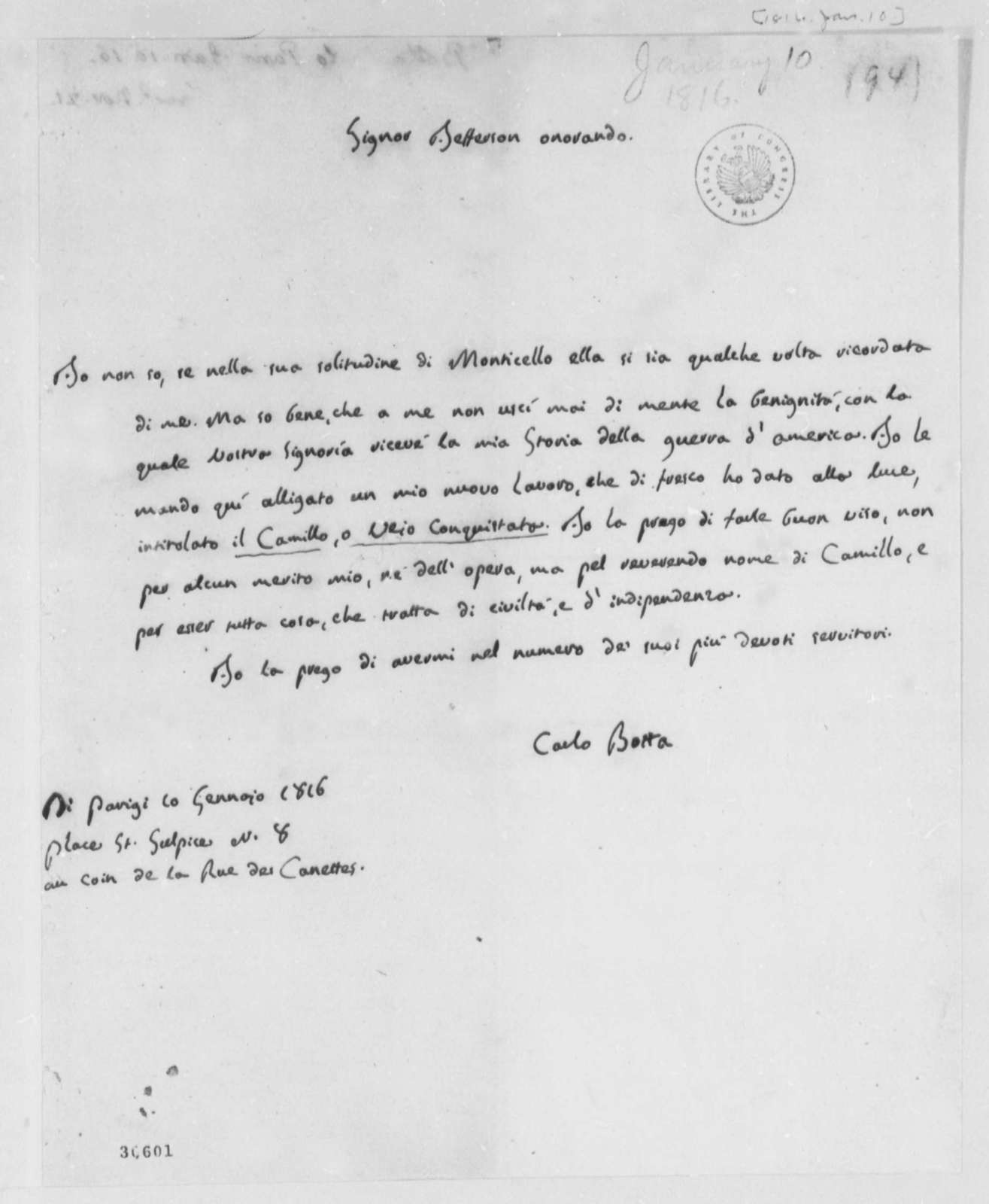 Charles G. G. Botta to Thomas Jefferson, January 10, 1816, in Italian