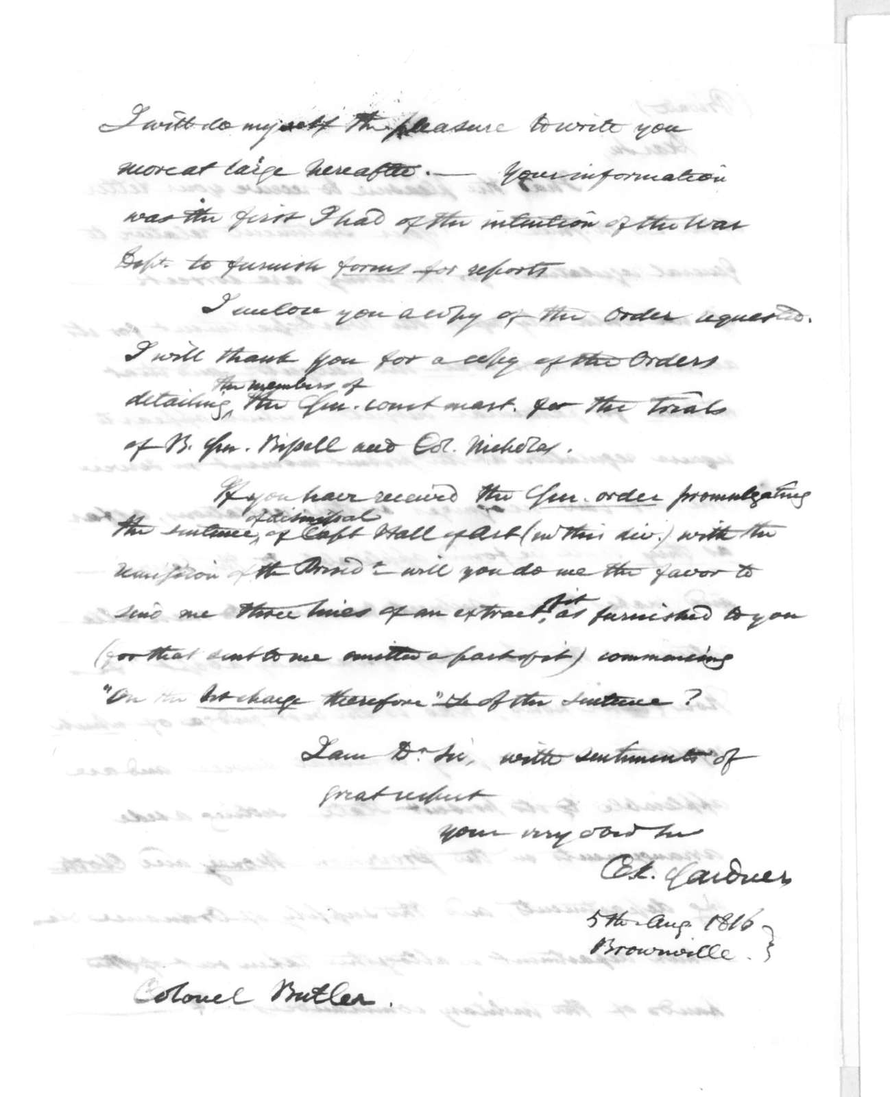 Charles Kitchel Gardner to Robert Butler, August 5, 1816
