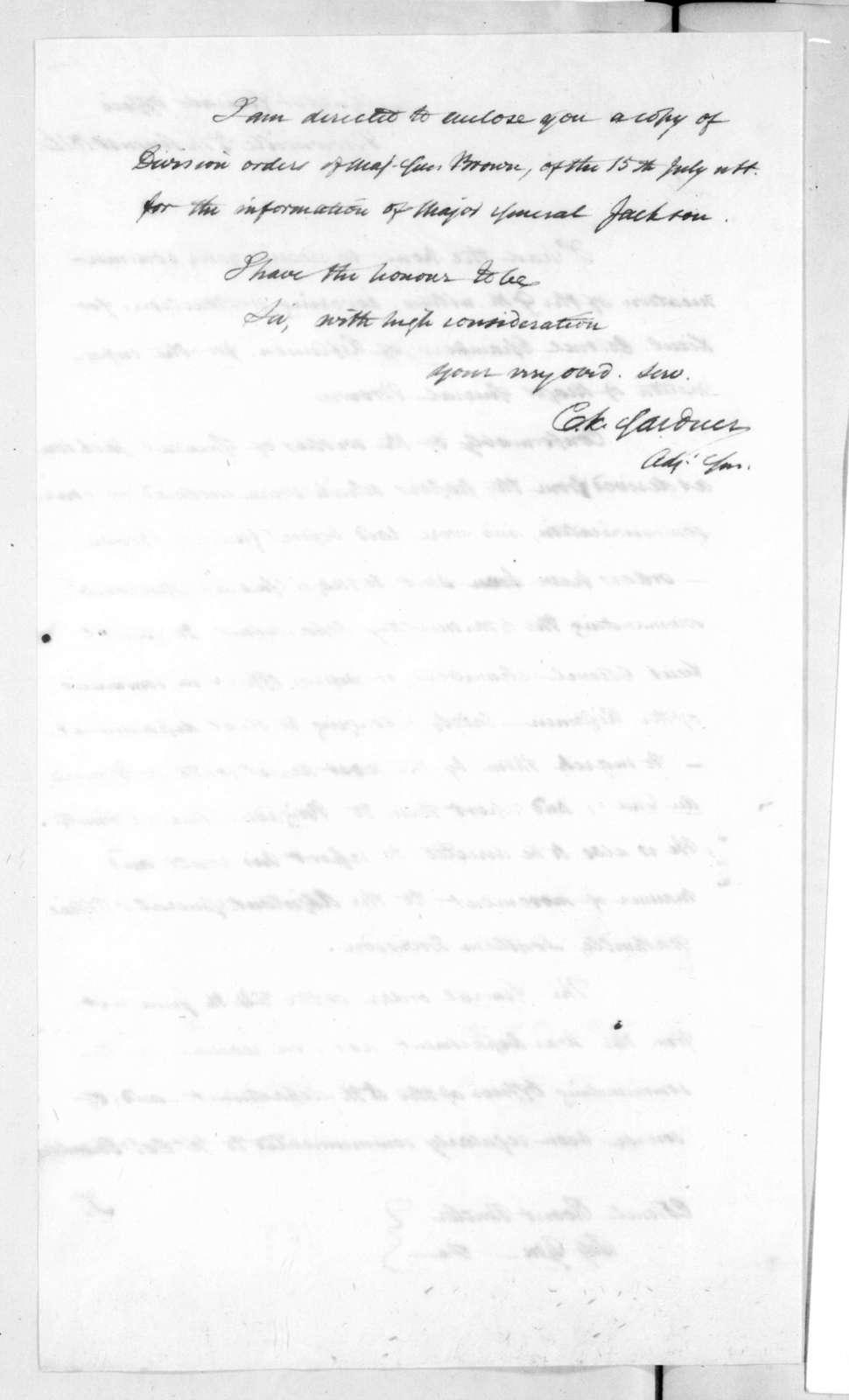 Charles Kitchel Gardner to Robert Butler, August 5, 1816