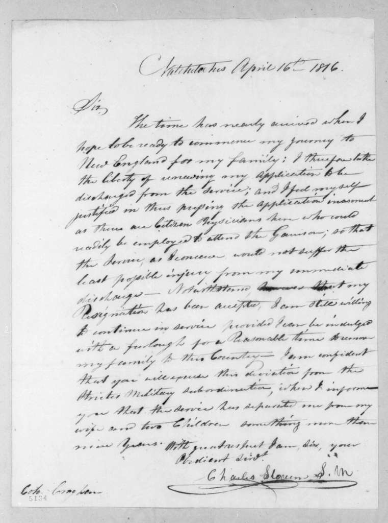 Charles Slocum to George Croghan, April 16, 1816