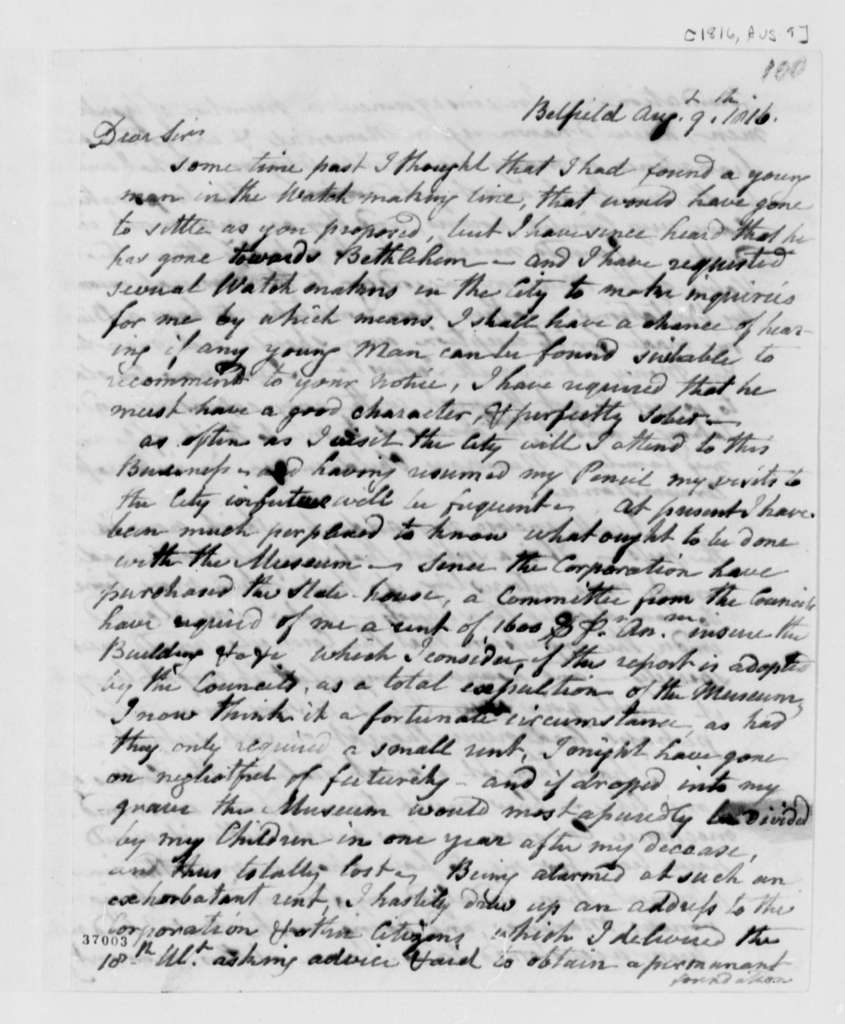 Charles Willson Peale to Thomas Jefferson, August 9, 1816