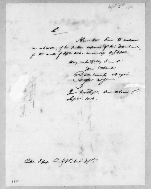 Charles Wollstonecraft to Thomas Sidney Jesup, September 5, 1816