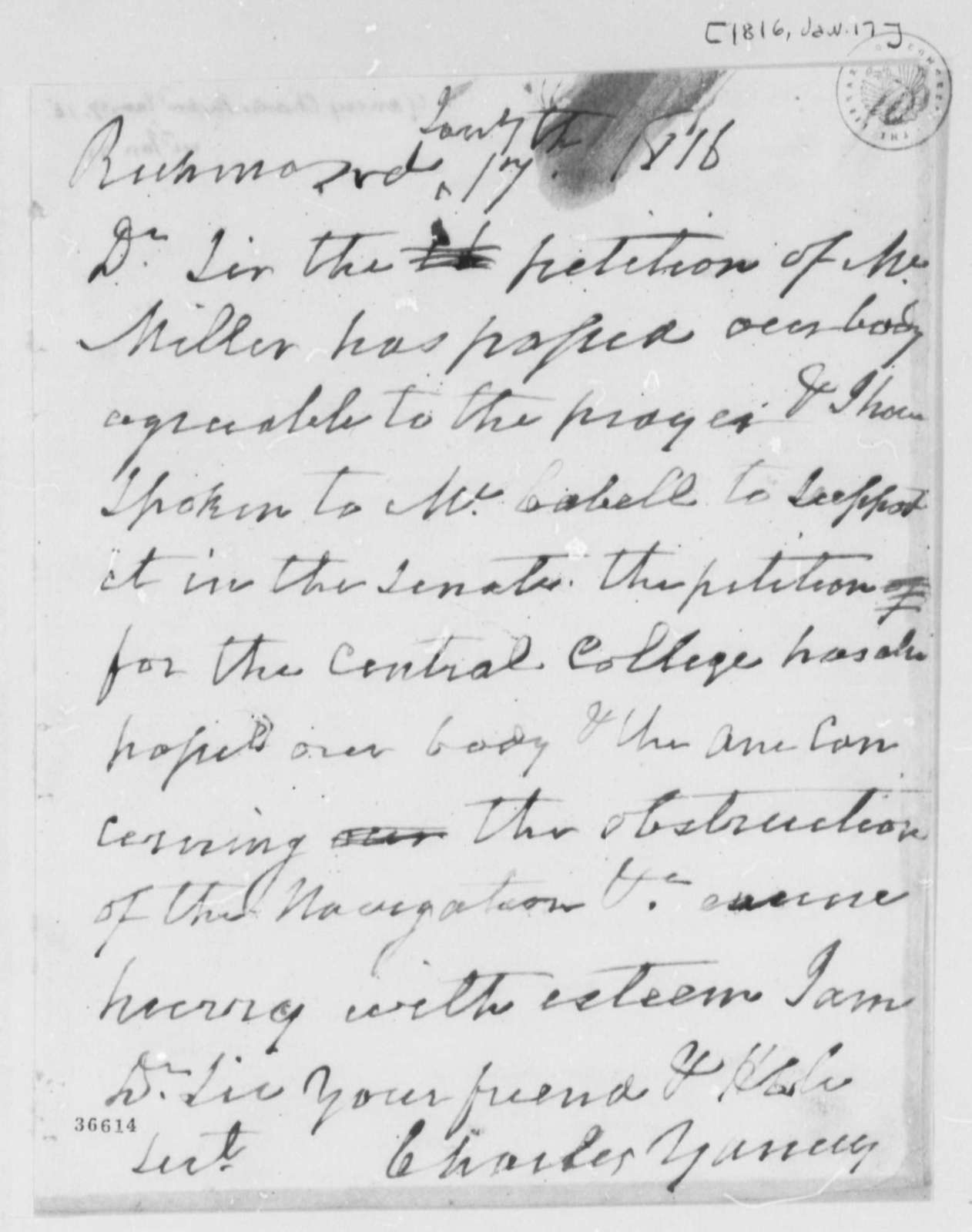 Charles Yancey to Thomas Jefferson, January 17, 1816