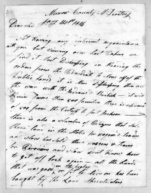 Clabon Harris to Andrew Jackson, January 14, 1816