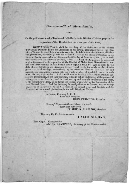Commonwealth of Massachusetts. On the petition of sundry towns and individuals in the District of Maine, praying for a separation of that District from other parts of this State. [Resolve of the General Court calling for an election on 20th of M