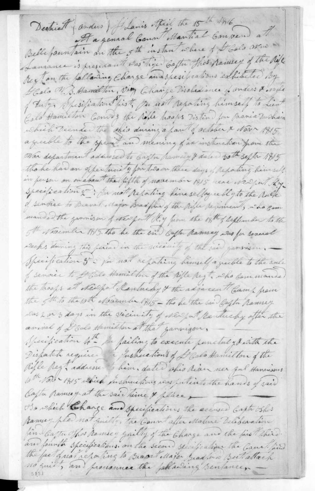Court Martial Proceedings - Belle Fountain Army Headquarters, April 15, 1816
