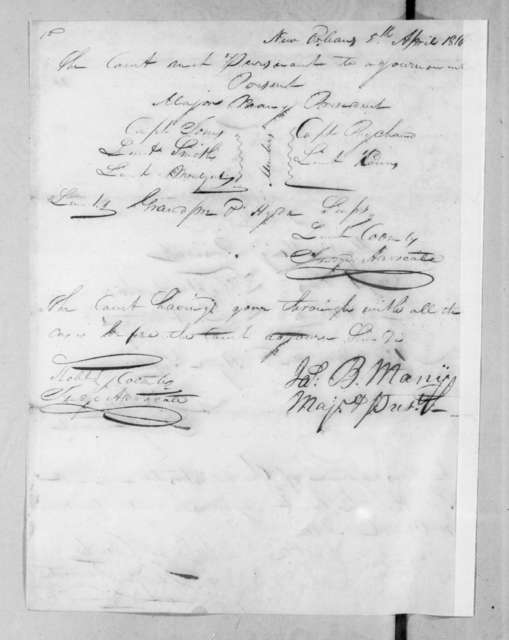 Court martial proceedings for Francis Barbin de Bellevue held at New Orleans Marine Barracks, April 4, 1816