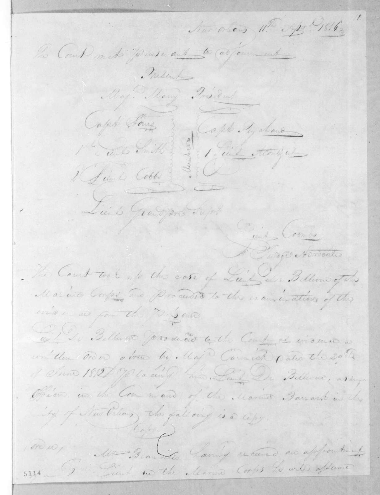Court martial proceedings from New Orleans Army Headquarters, April 18, 1816