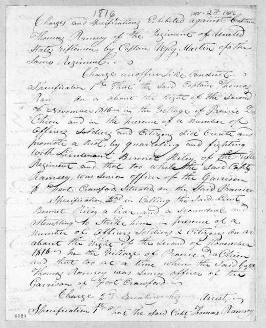 Court martial proceedings held at Fort Armstrong against Thomas Ramsey. November 12, 1816