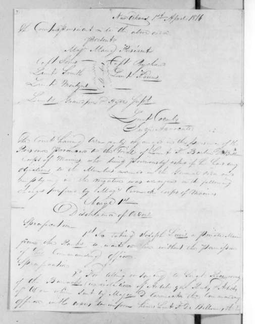Court martial proceedings held at New Orleans Marine Barracks March 29, 1816