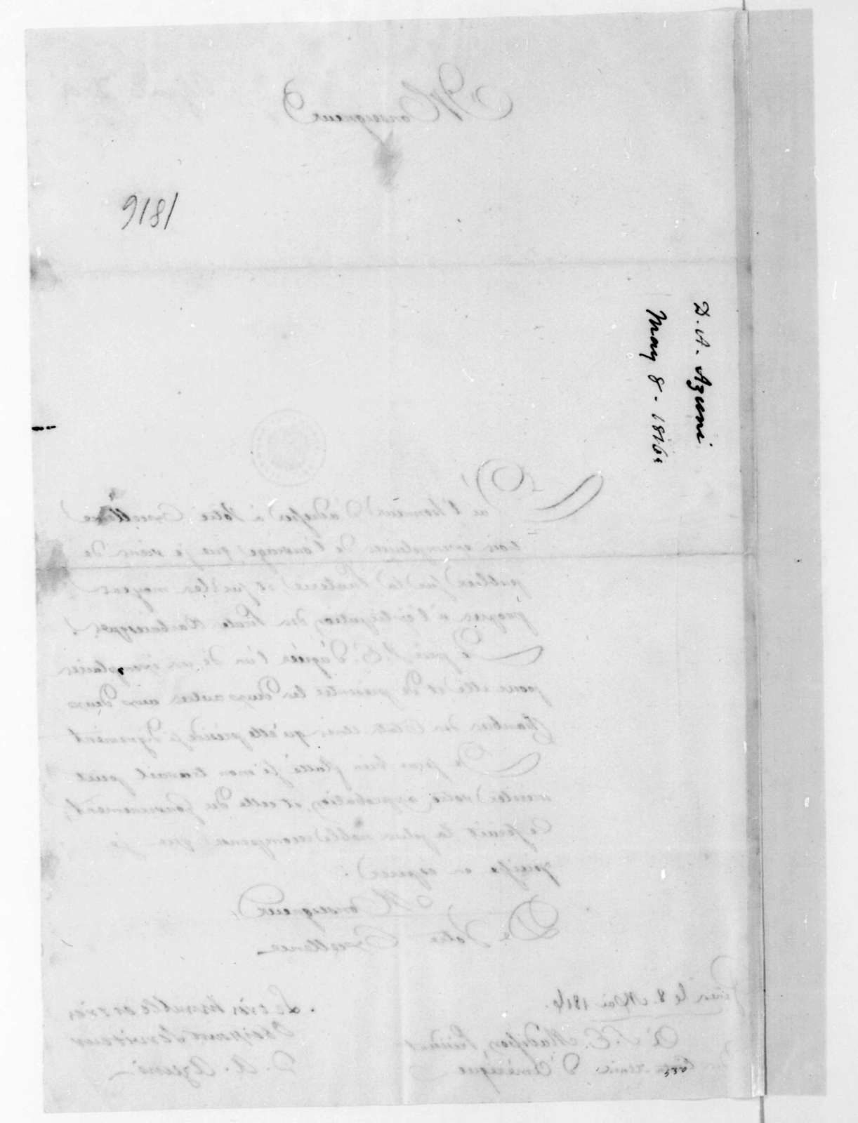 D. A. Azuni to James Madison, May 8, 1816. In French.