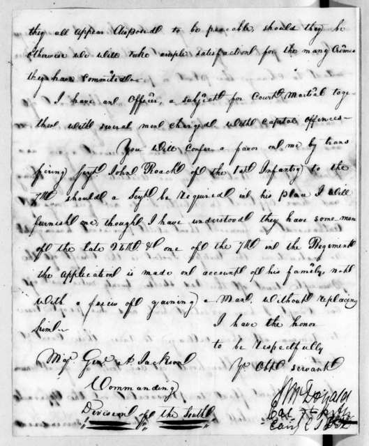 D. J. McDonald to Andrew Jackson, July 16, 1816