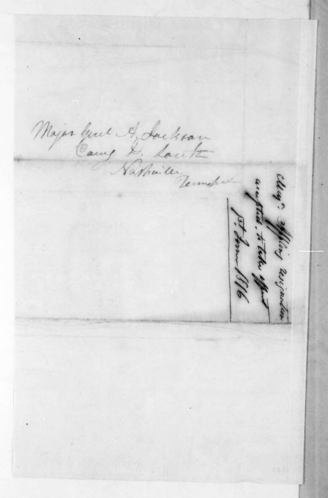 Daniel Appling to Andrew Jackson, April 18, 1816