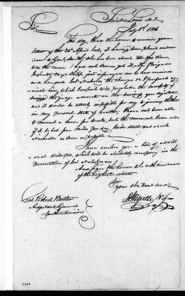 Daniel Bissell to Robert Butler, July 6, 1816