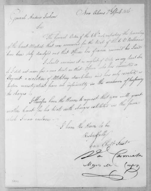 Daniel Carmick to Andrew Jackson, April 7, 1816