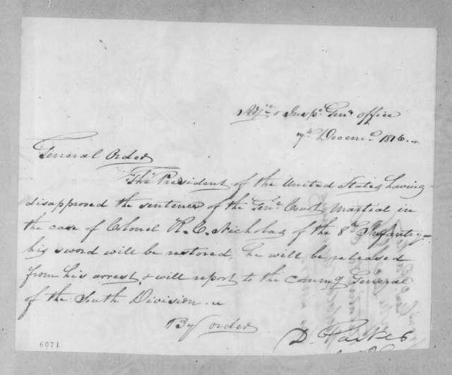 Daniel Parker, December 7, 1816