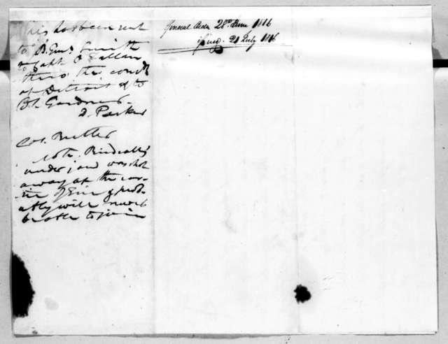 Daniel Parker, June 28, 1816