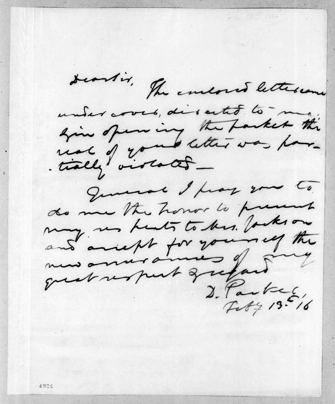 Daniel Parker to Andrew Jackson, February 13, 1816