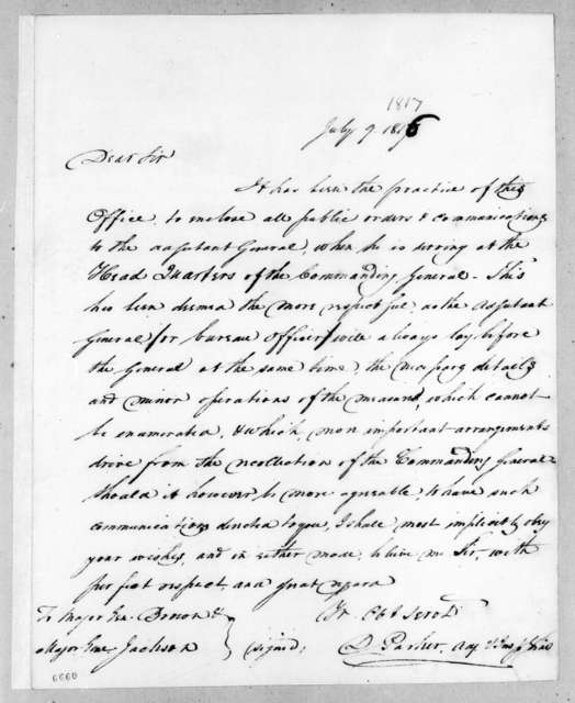 Daniel Parker to Andrew Jackson, July 9, 1816