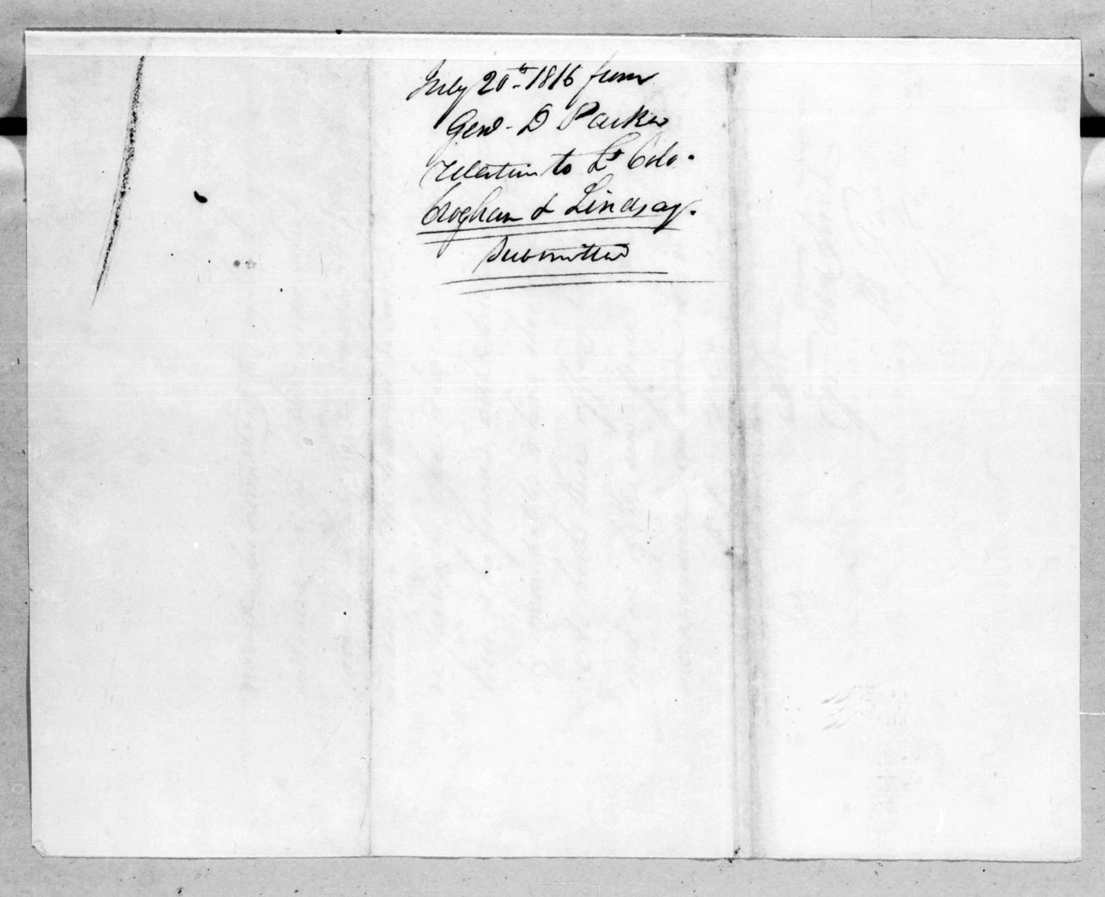 Daniel Parker to George Croghan and William Lindsay, July 20, 1816