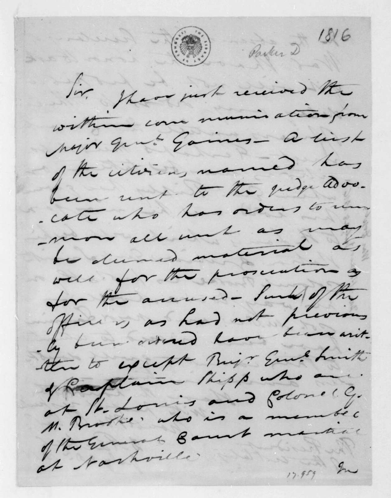 Daniel Parker to James Madison, July 28, 1816.