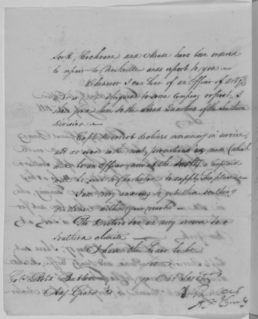 Daniel Parker to Robert Butler, July 13, 1816