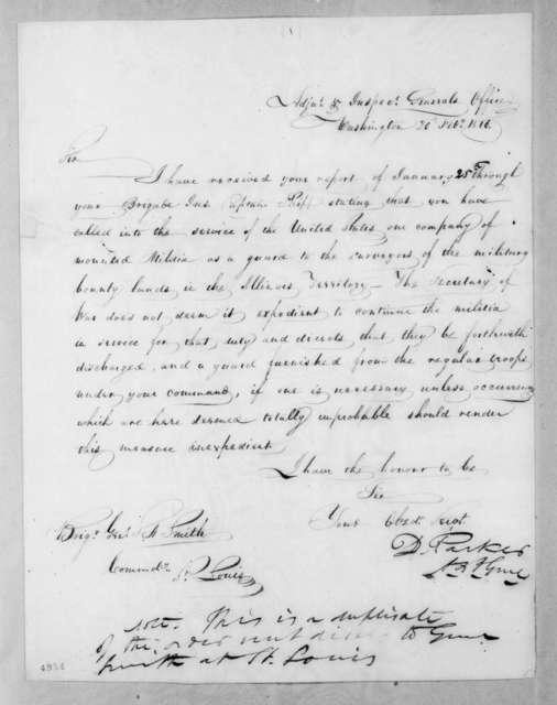 Daniel Parker to Thomas Adams Smith, February 20, 1816