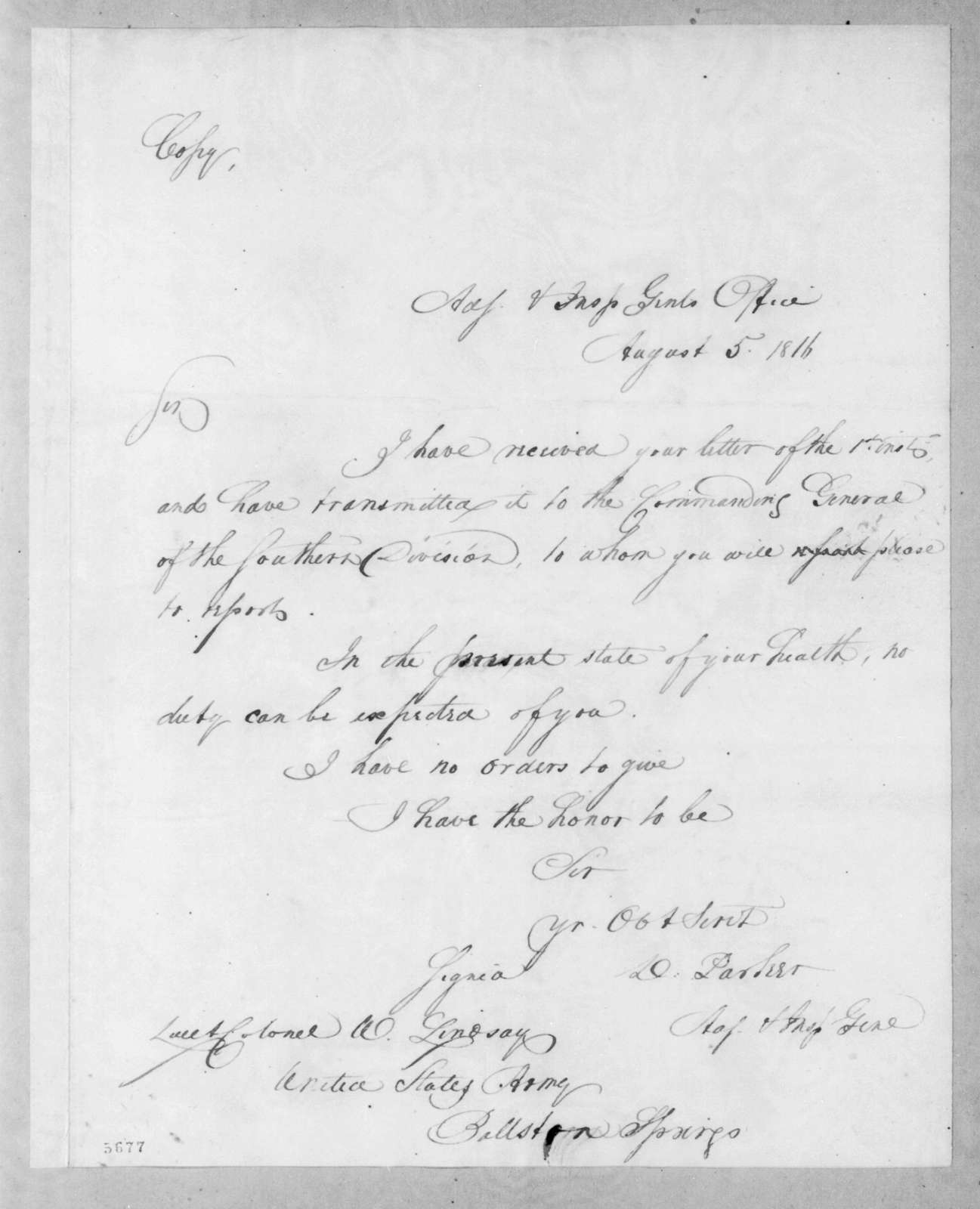 Daniel Parker to William Lindsay, August 5, 1816