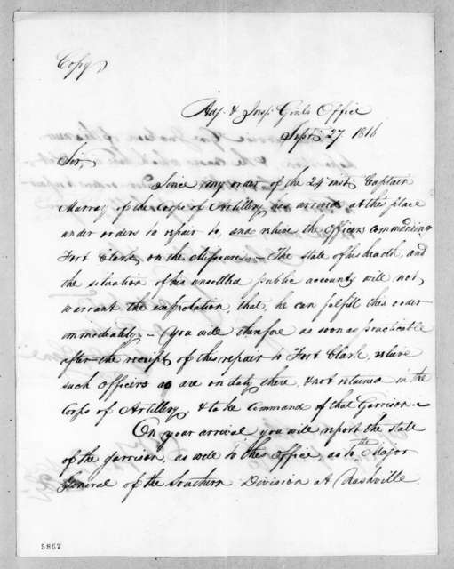 Daniel Parker to William Oliver Allen, September 27, 1816