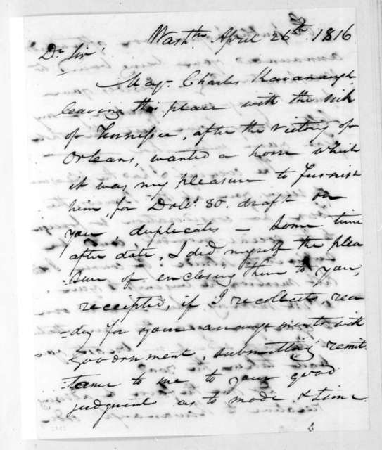 Daniel Rawlings to Andrew Jackson, April 26, 1816
