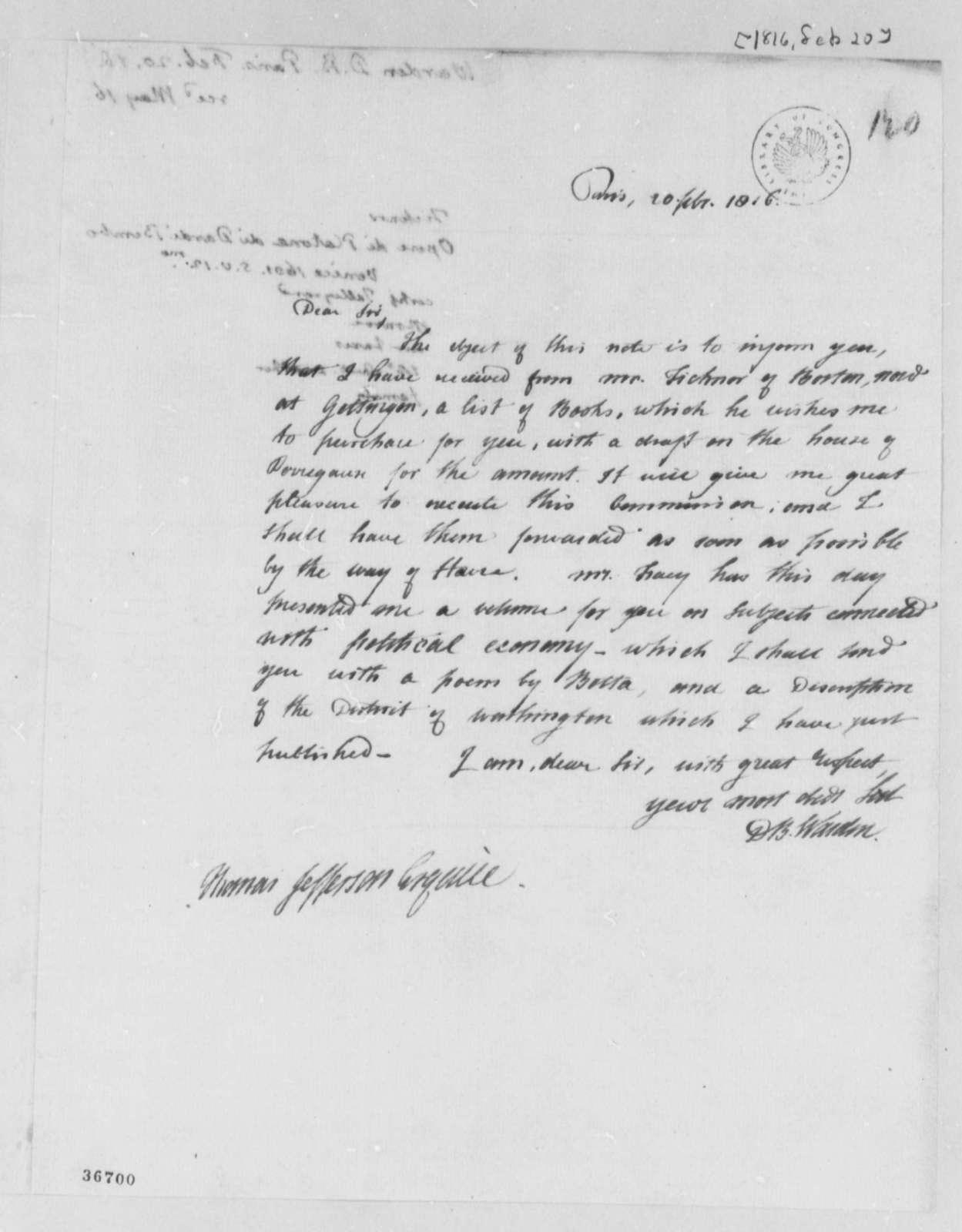 David B. Warden to Thomas Jefferson, February 20, 1816, with Thomas Jefferson Note