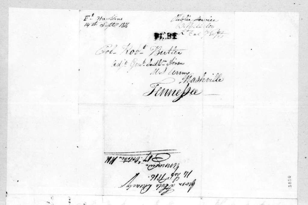 David Brearley to Robert Butler, September 14, 1816
