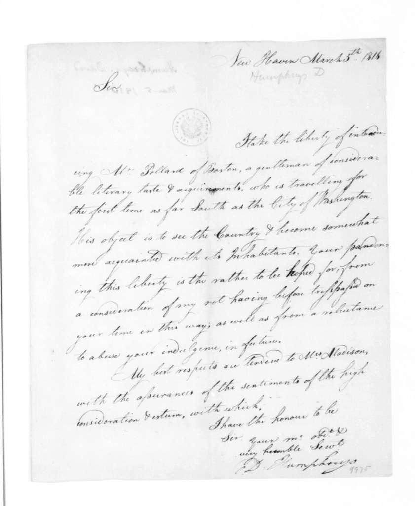 David Humphreys to James Madison, March 5, 1816.