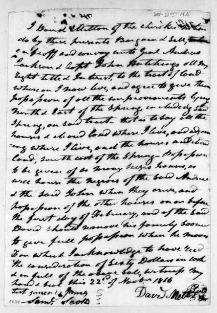 David Melton to Andrew Jackson, November 22, 1816