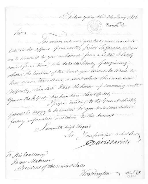 David Parish to James Madison, January 24, 1816. With Lafayette Extract.