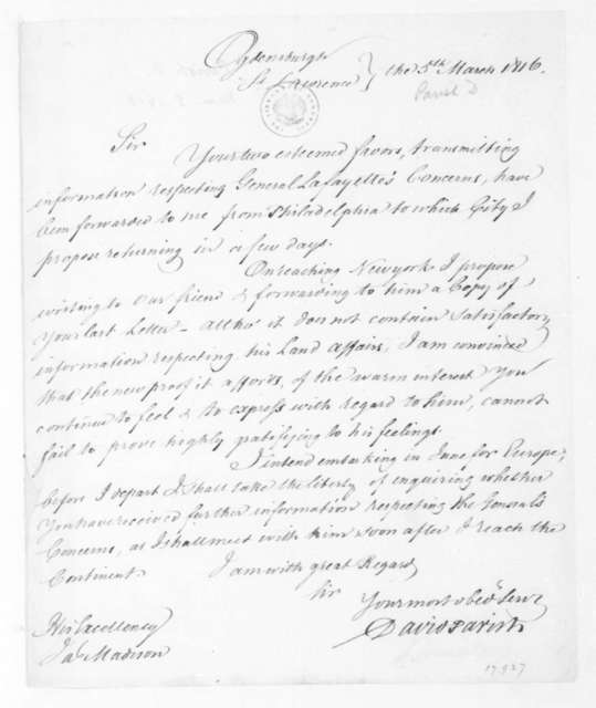 David Parish to James Madison, March 5, 1816.