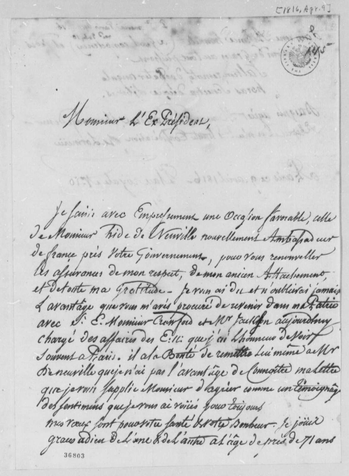 De Lormerie to Thomas Jefferson, April 9, 1816, in French