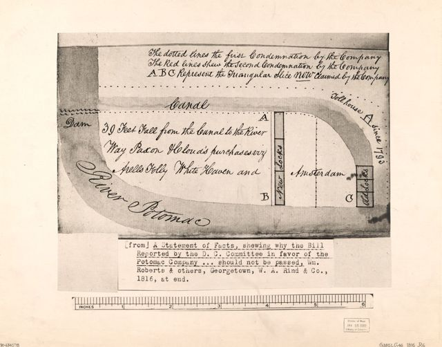 [Diagrammatic map of real property condemned in favor of the Potomac Company in Washington D.C. for the Chesapeake and Ohio Canal].